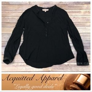Philosophy Black Tunic Top Leather Accent Shirt